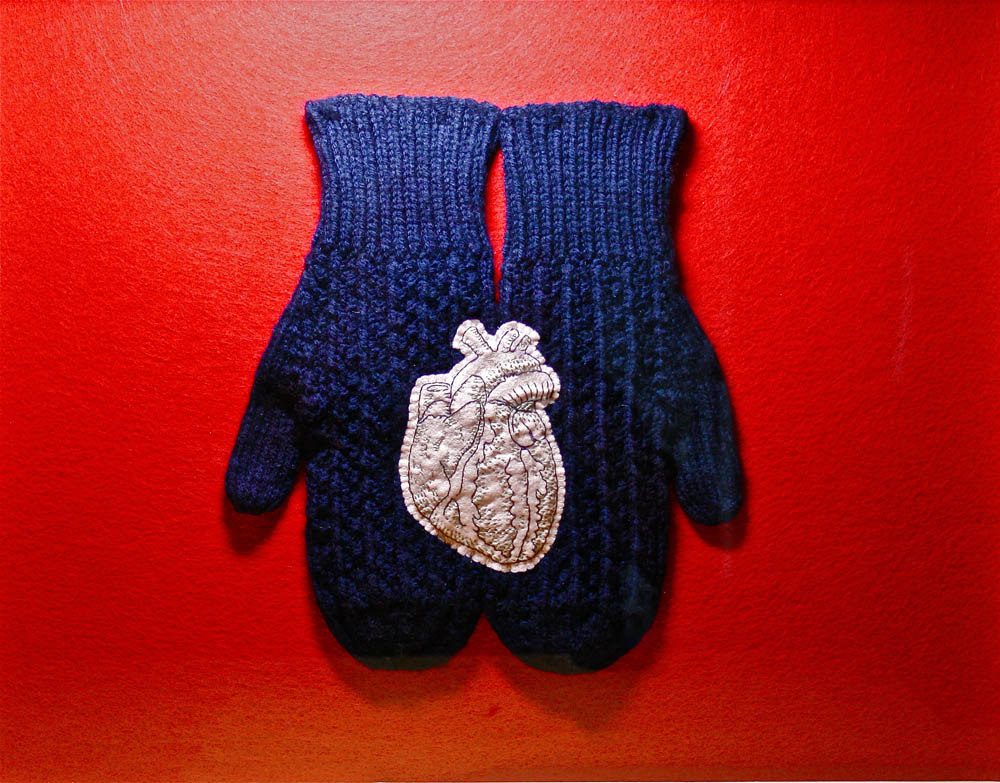 Textile photo 39 I Hold My Father's Heart With My Mother's Hands 2011 18 X 24 Felt embroidery thread Mitts knitted by Elsie Hare